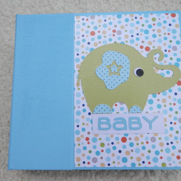 6x6 Baby Boy Animal Scrapbook in Blue Binder