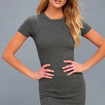Hey Good Lookin' Short Sleeve Dark Grey Dress