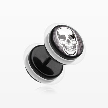 A Pair of Death Skull Acrylic Faux Gauge Plug Earring