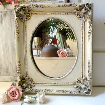 Cream Ornate Mirror, Antique Cream and Gold Vintage Mirror, Shabby Chic, Distressed Mirror, Elegant Detailed Mirror