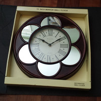Brown Metallic like Mirror wall clock vintage resin