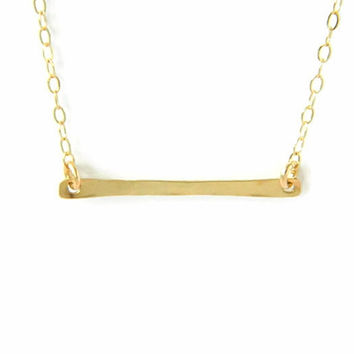 14K Solid Gold Bar Necklace