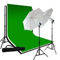"LimoStudio Photography 10'x10' Muslin Black White Green Chromakey Backdrop Support Kit 700W 33"" White Photo Umbrella Light Kit, LMS709"