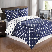 Navy & White King/Cal-King 3PC Bloomingdale Duvet Cover Set