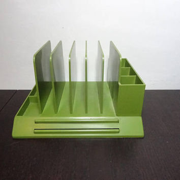 Vintage Retro Max Klein Avocado Green Plastic File/Mail Organizer For Office Desk - Mid Century Modern