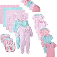 Gerber Baby-Girls Newborn Mommy Loves Me 19 Piece Gift Bundle Set, Pink, 0-3 Months