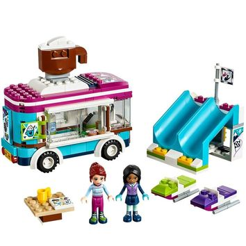 Princess Ski Resort hot Chocolate Car Lepin 01048 260Pcs Model Building Blocks Toy for children Compatible Legoing Friends 41319
