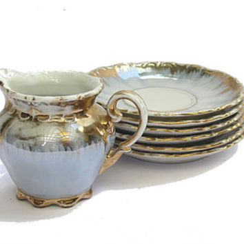 Porcelain creamer and saucers. Lusterware gold trim tea set. Bavaria crown milk pitcher and 6 small plates. Vintage.