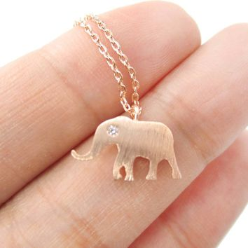 Classic Elephant Shaped Silhouette Pendant Necklace in Rose Gold | Animal Jewelry