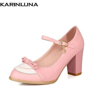 Karinluna Size 32-45 Classic Mary Jane Style Chunky High Heel Shoes Woman Sweet Bowtie Pumps Party Wedding Prom Footwear