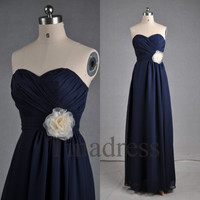 Custom Navy Blue Long Prom Dresses Bridesmaid Dresses 2014 Wedding Party Dress Party Dresses Evening Gowns Formal Wear Homecoming Dresses