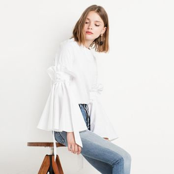 New Fashion Ruffle Women Tops White Sexy Frill Elegant Casual Loose Blouse Autumn Sweet Lace Up Preppy Style Shirt
