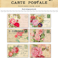 Digital romantic vintage floral postcards / shabby chic / ephemera collage sheet / three sizes / downloadable, printable