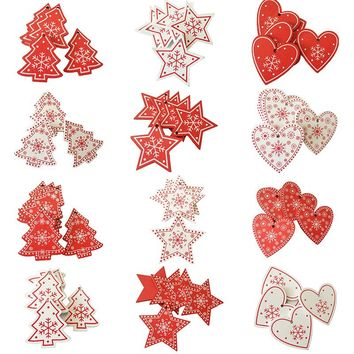 10pcs 5CM New Year Natural Wood Christmas Ornaments Pendant Hanging Gifts Snowflakes Xmas Tree Decor Home Decorations 62082