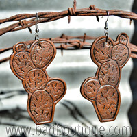 Tooled Leather Prickly Cactus Earrings