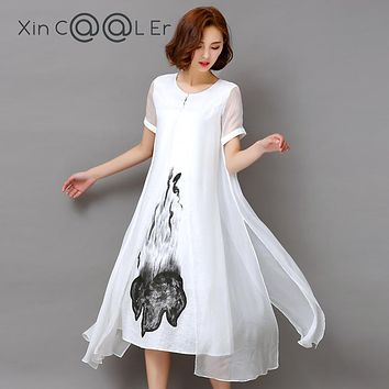Fashion2017 New Summer Autumn White Black Ink Print Women Long Dress Retro Short Sleeve Cotton Linen Designs Casual Dresses Slim