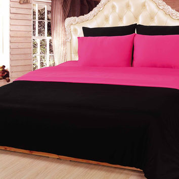 Tache 6 Piece Pretty in Pink and Black Reversible Comforter Set, Queen Size