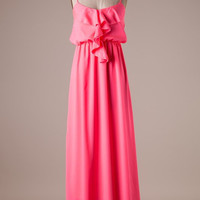 Ruffle Maxi Dress - Hot Pink