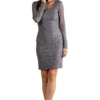 Short Plus Size Long Sleeve Cocktail Dress
