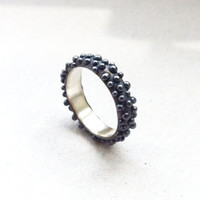 dots ring black / daily simple silver blackened ring to wear each day everywhere