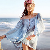 Strappy Trumpet Sleeve Chiffon Blouse