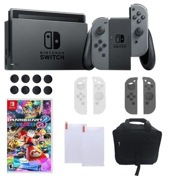 Nintendo Switch in Gray with Mario Kart 8 Deluxe Bundle