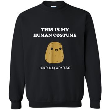 Funny Potato  | Xmas Gift This Is My Human Costume Printed Crewneck Pullover Sweatshirt