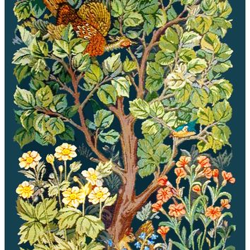 William Morris Arts and Crafts Woodland Pheasant Counted Cross Stitch or Counted Needlepoint Pattern