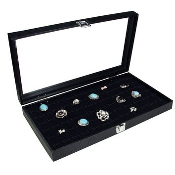 Ikee Design Glass Top Case with 72 Rings Slot Foam, 14 3/4''W x 8 1/4''D x 2 1/8''H | Overstock.com Shopping - The Best Deals on Jewelry Boxes