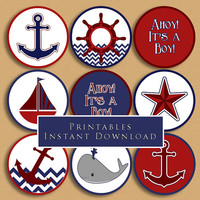 Nautical Theme Printable Cupcake Toppers Baby Shower Boy DIY Printable INSTANT DOWNLOAD