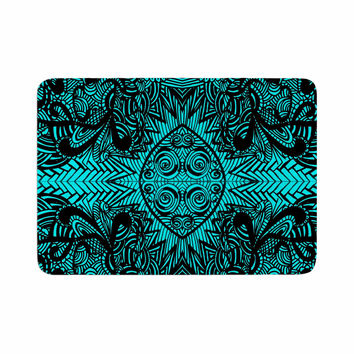 "Shirlei Patricia Muniz ""The Elephant Walk"" Teal Ethnic Memory Foam Bath Mat"