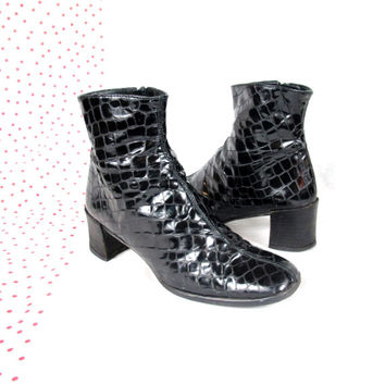 80s 90s Black Patent Leather Ankle Boots Snake Skin Chunky Heel Boots Grunge Reptile Print Square Toe Booties Shiny Sacha London Boots (7)