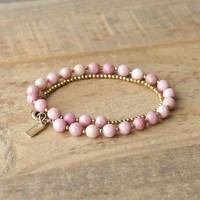 Rhodonite Wrist Mala Bracelet or Choker for Self Love