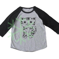 American shorthair cat shirt kids toddler animal shirt- 3/4 sleeve tshirt -Child t shirt -Raglan shirt- Baseball tshirt -Kids tshirts