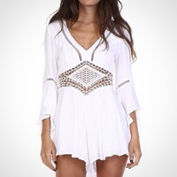 White Crochet Trim Romper from Follow The Sun