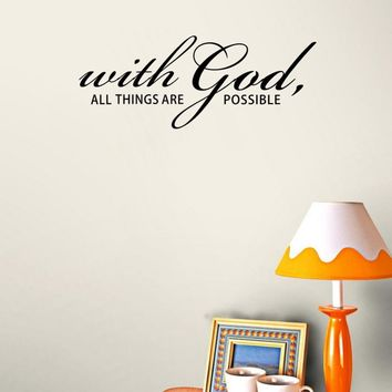 'With God All Things Are Possible' Vinyl Wall Art