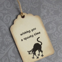 Halloween vintage primitive gift tags with cat. Set of 8.