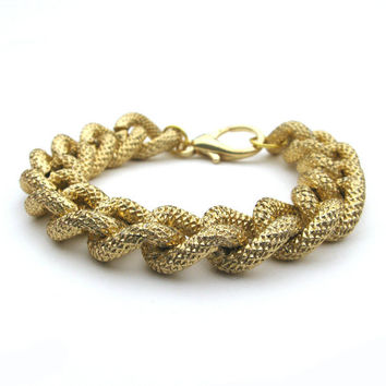 Arm Candy Chunky Gold Chain Faux Pave Marnie Bracelet Large Chunky Textured Gold Curb Chain Faux Pave Link Bracelet Arm Candy Chunky Chain