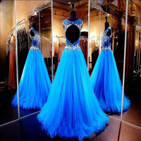 Ice Blue Sexy A-line Sweetheart Hollow Back Tulle Long Prom Dresses 2015 vestidos de baile dress for prom with Beading Prom Gown