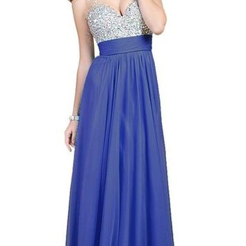 Fanhao Women's V Neck Sequins Chiffon Bridal Evening party Long prom dress