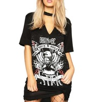 Women's Black Born to Be Rock & Roll Graphic Print T-Shirt V-Neck Dress with Choker