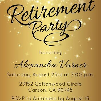 Sparkly Gold Retirement Invitation