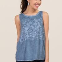 Lulu Mineral Wash Rose Embroidered Tank