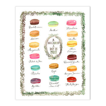 French macaron flavor chart print, Watercolor painting, Macaroon print, Pastel home decor, Paris wall art, Kitchen art, Macaron poster, Cute