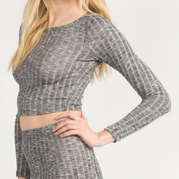 Ribbed Cropped Long Sleeve Top