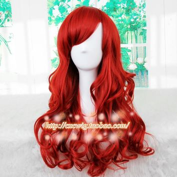 Cool New The Little Mermaid Dark Red Wig Body Wave Wig Cosplay Princess Ariel Wig Role Play Costume HairAT_93_12