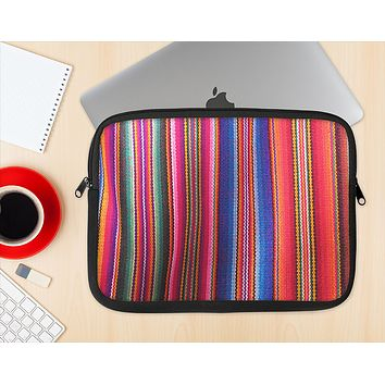 The Colorful Striped Fabric Ink-Fuzed NeoPrene MacBook Laptop Sleeve
