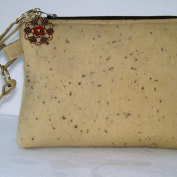 Wristlet Clutch - Echo dyed  Pomegranate - Neutral colors -  zippered  pouch  OOAK