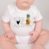 Foodie Baby Top, Foodie Outfit, Peace Love Pineapples Top
