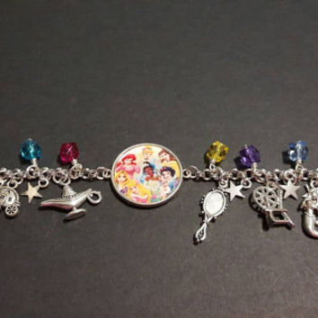 Disney Princesses stainless steel charm bracelet